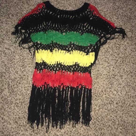 5fa829f20c Beach Cover Up Crochet Rasta Colors. M 5aba92fa46aa7c16a4c5de61